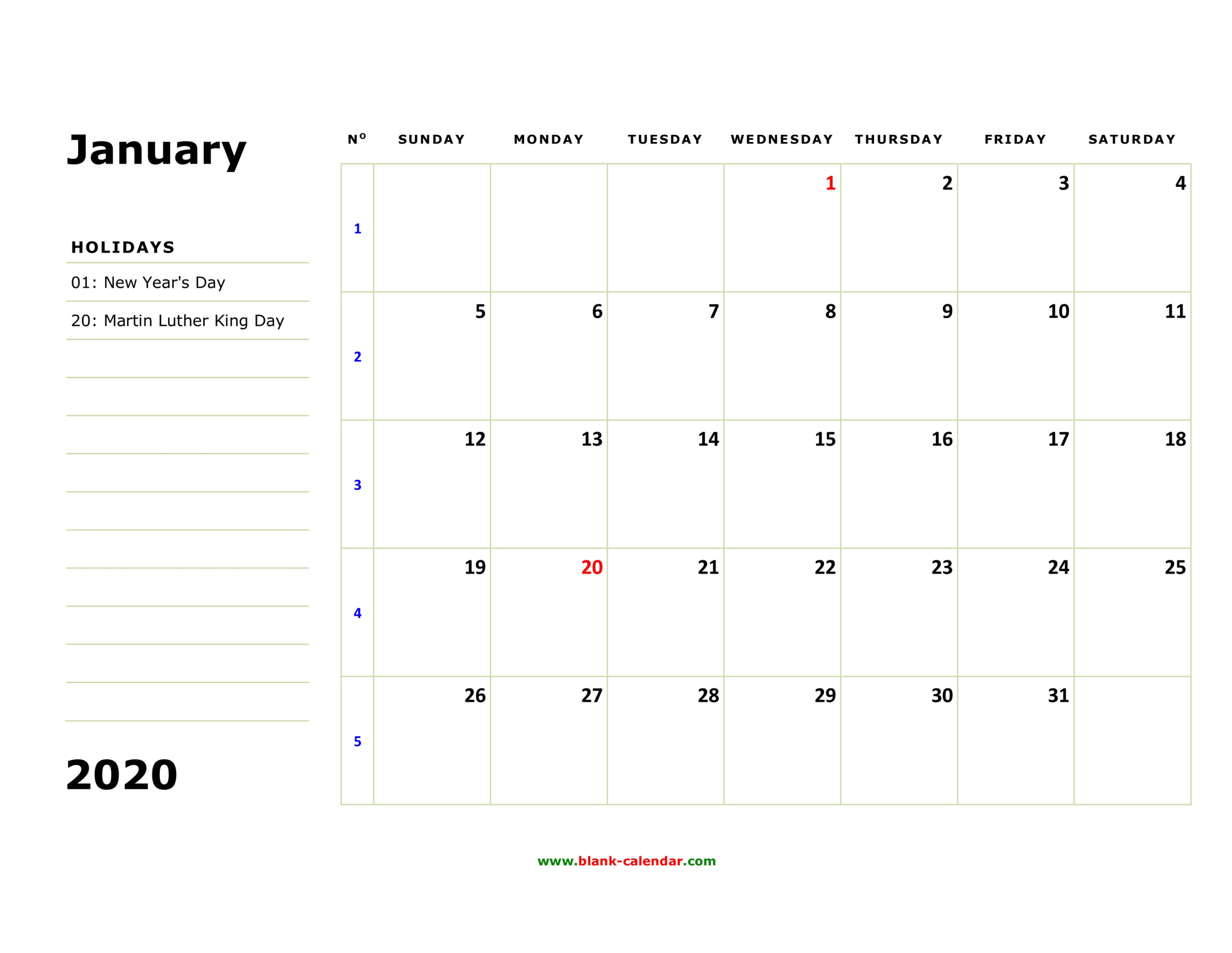 Large Blank Monthly Calendar To Fill In | Calendar