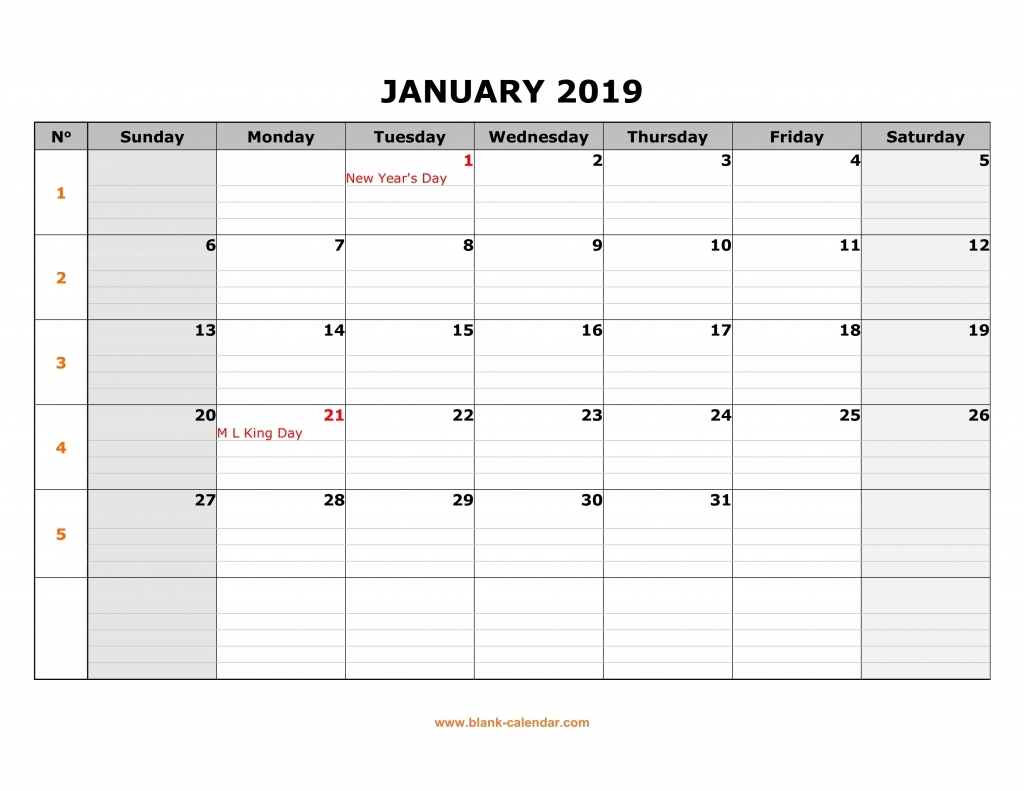 Large Blank Monthly Calendars January 2019 Printable