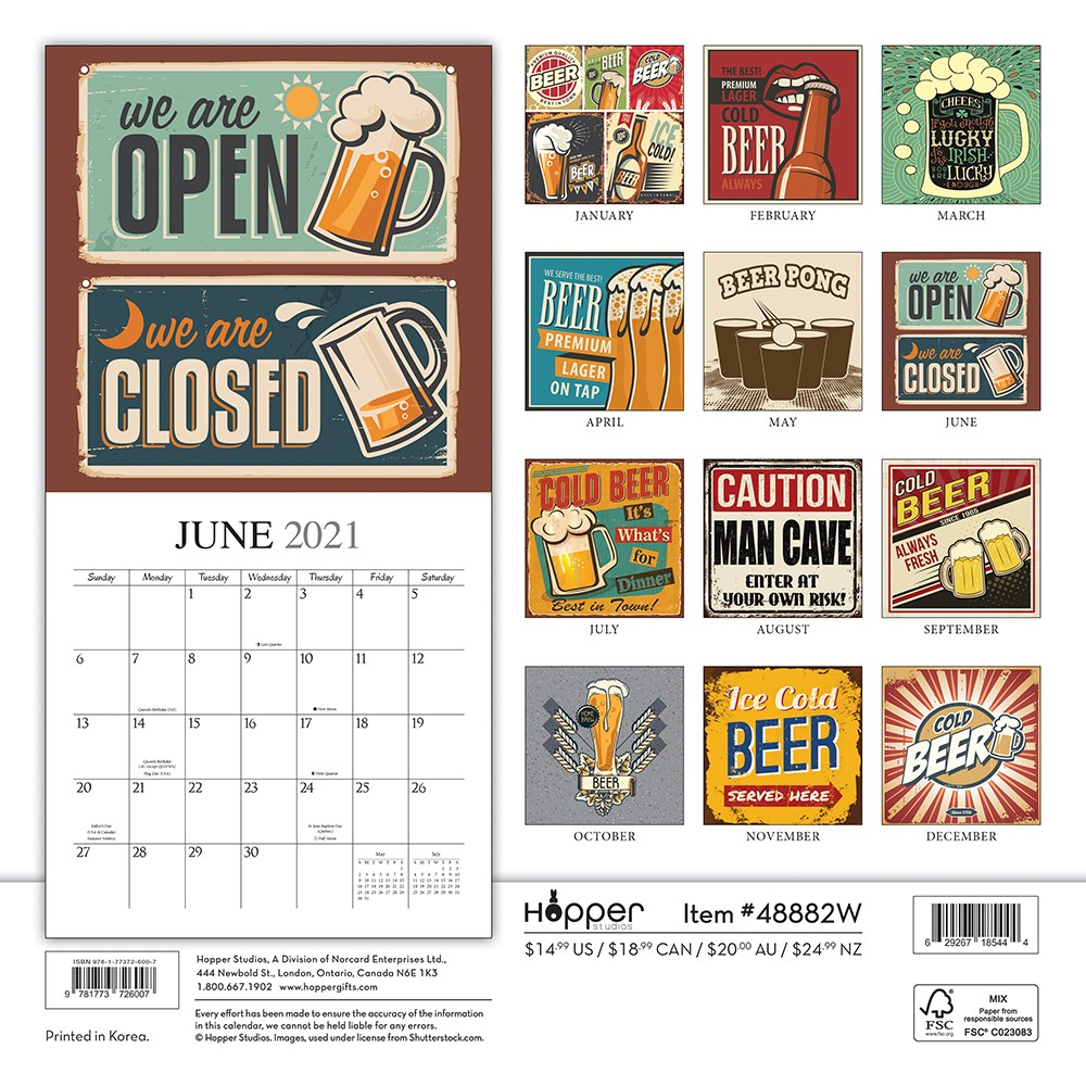 Man Cave 2021 12 X 12 Inch Monthly Square Wall Calendar By