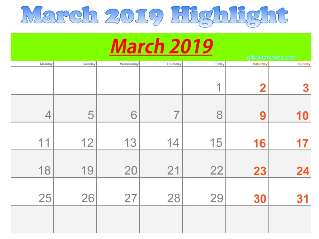 March 2019 Calendar Highlight Sunday Saturday | 2019