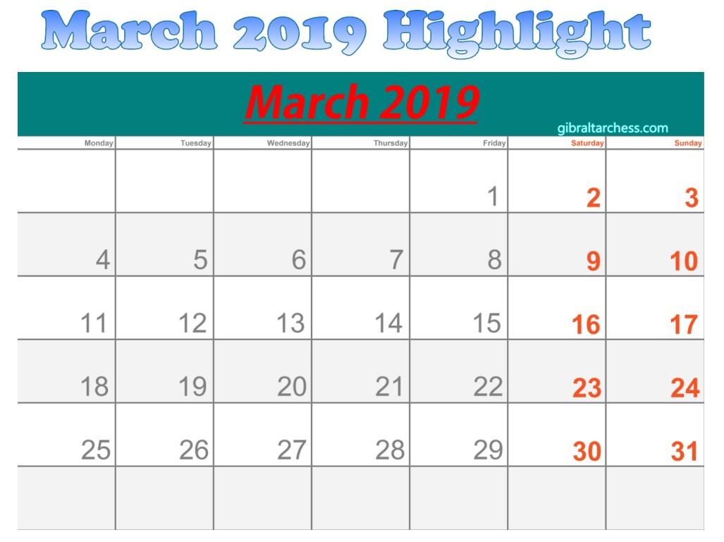 March 2019 Calendar Highlight Sunday Saturday | 2019