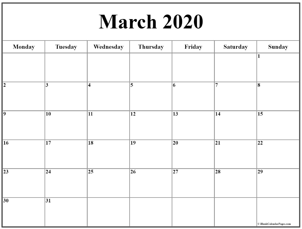 March 2020 Monday Calendar | Monday To Sunday In 2020