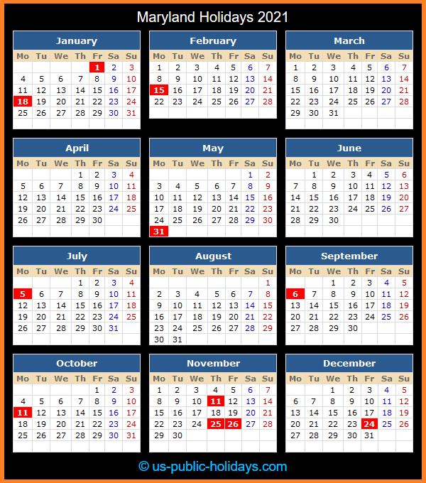 Maryland Holidays 2021