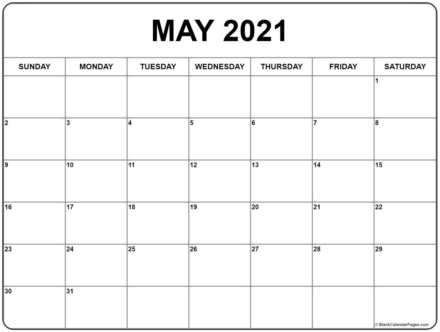 May 2021 Calendar | Free Printable Monthly Calendars