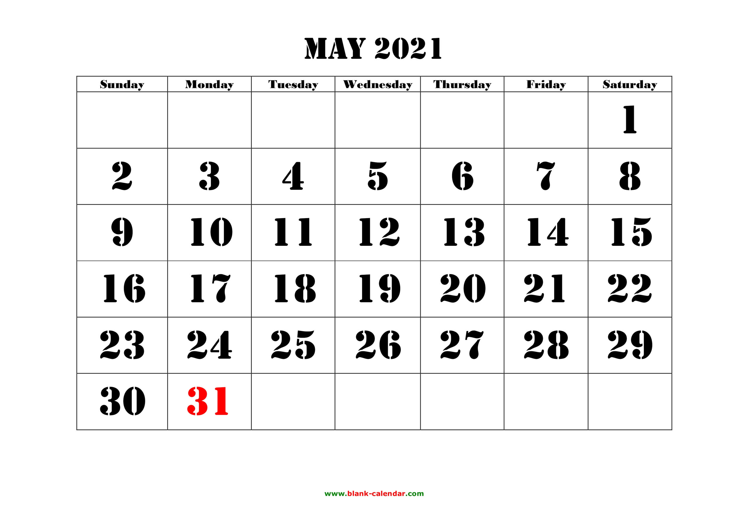 May 2021 Printable Calendar | Free Download Monthly