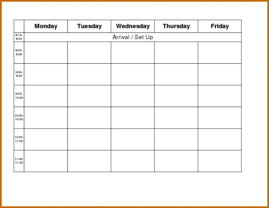 Monday Through Friday Schedule Template | Tutore