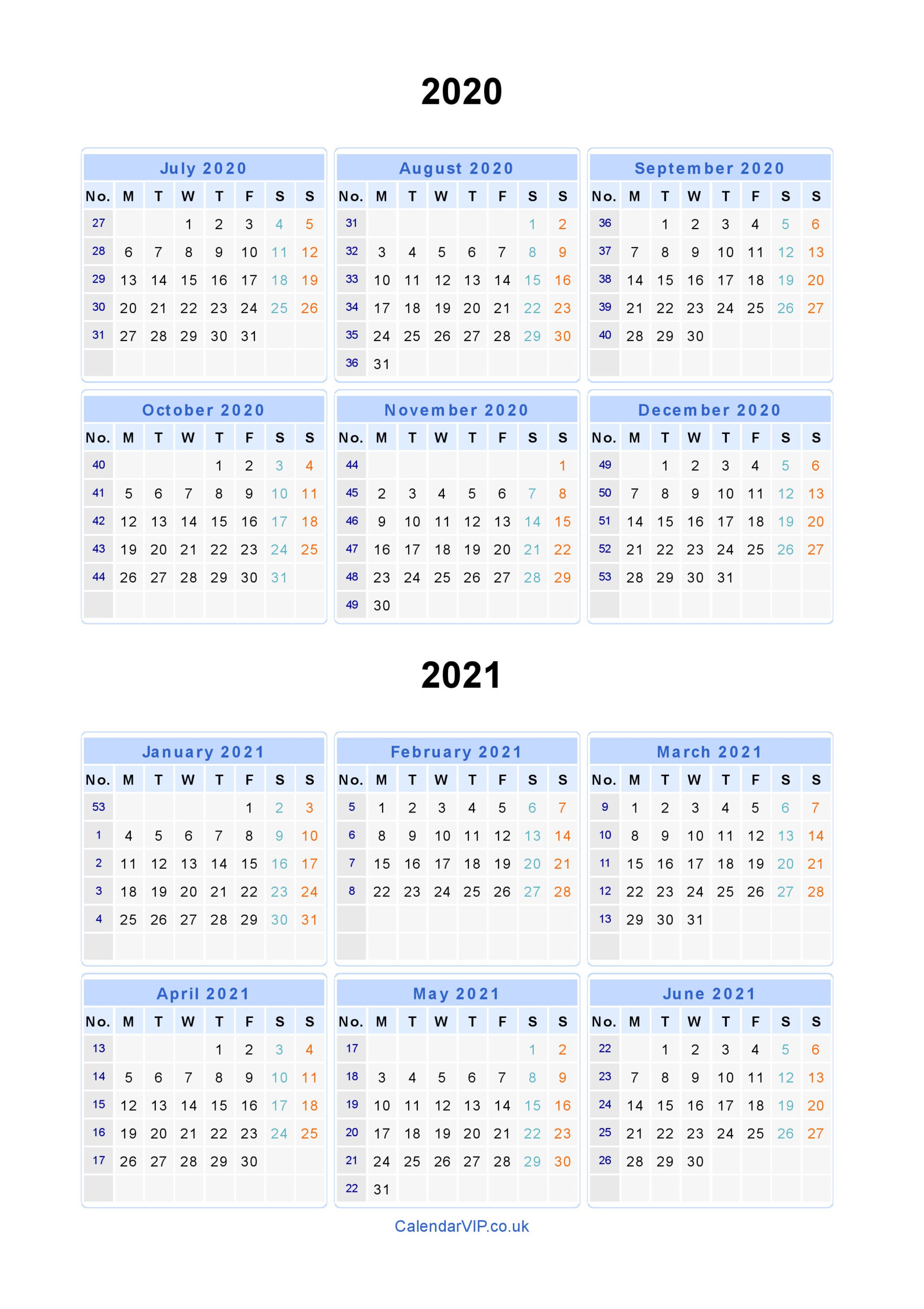 Monday Thru Friday Calendar Template 2020 | Example