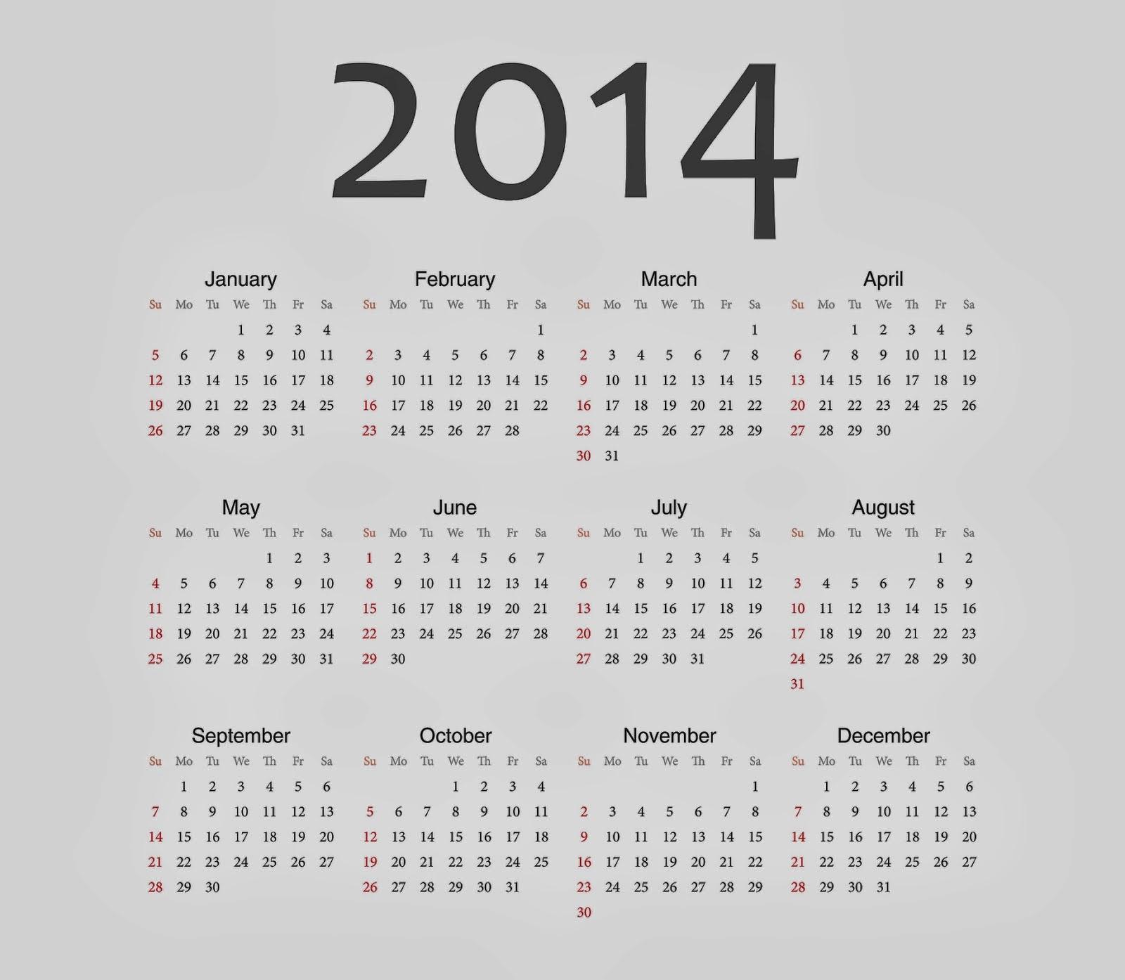 New Year 2014: New Year Calendar 2014 For Desktop