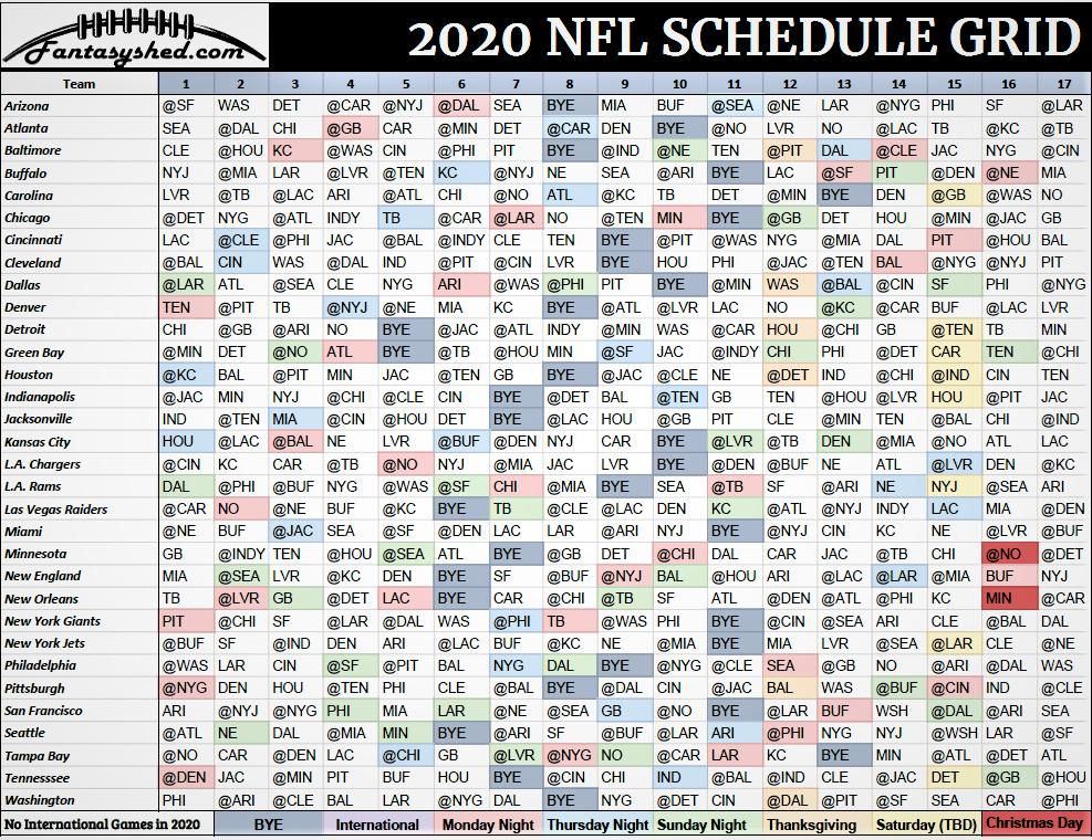 Nfl Schedule 2020 Archives - Fantasyshed