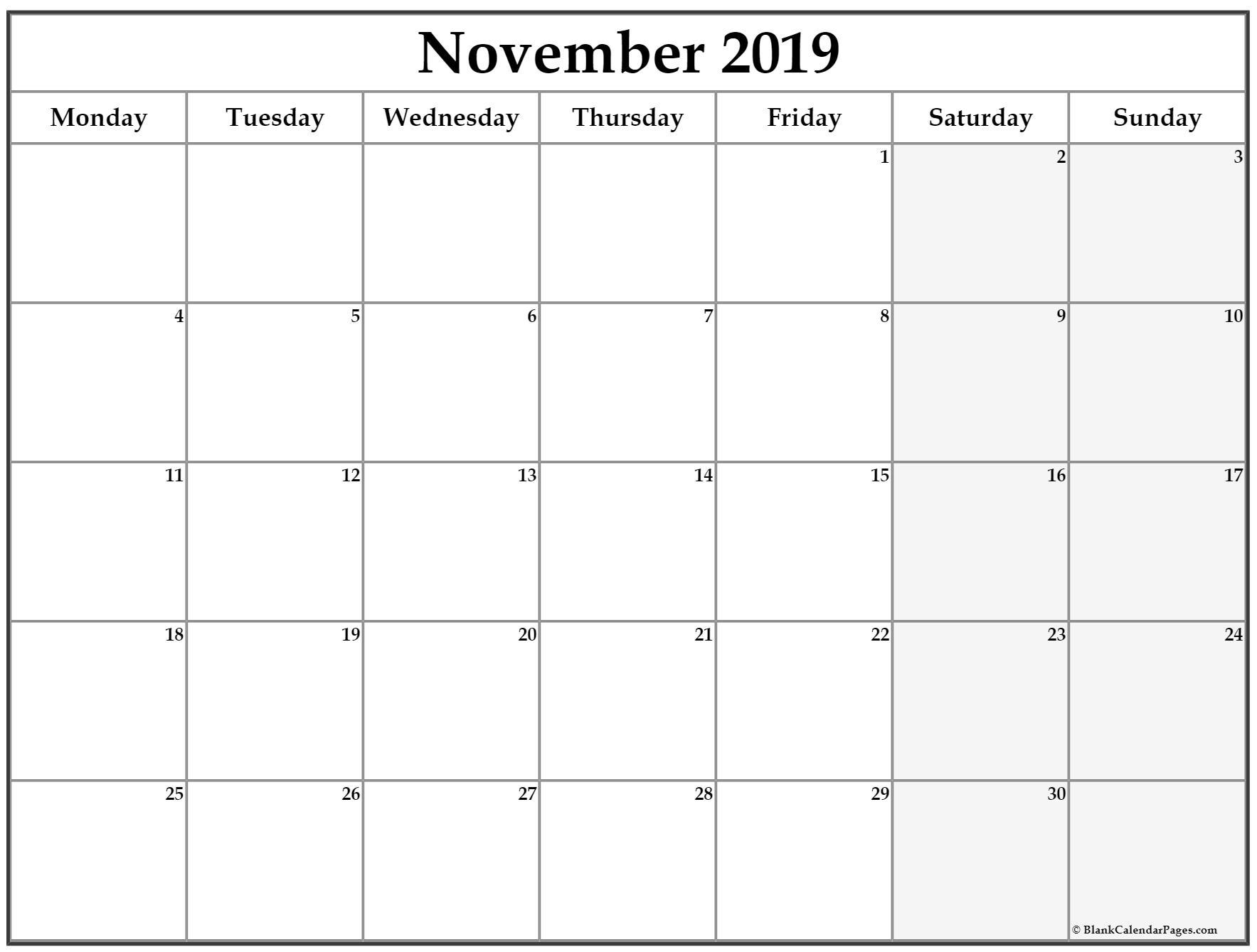 November 2019 Monday Calendar | Monday To Sunday