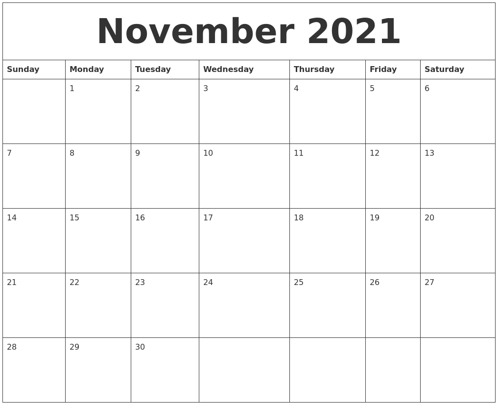 November 2021 Online Printable Calendar