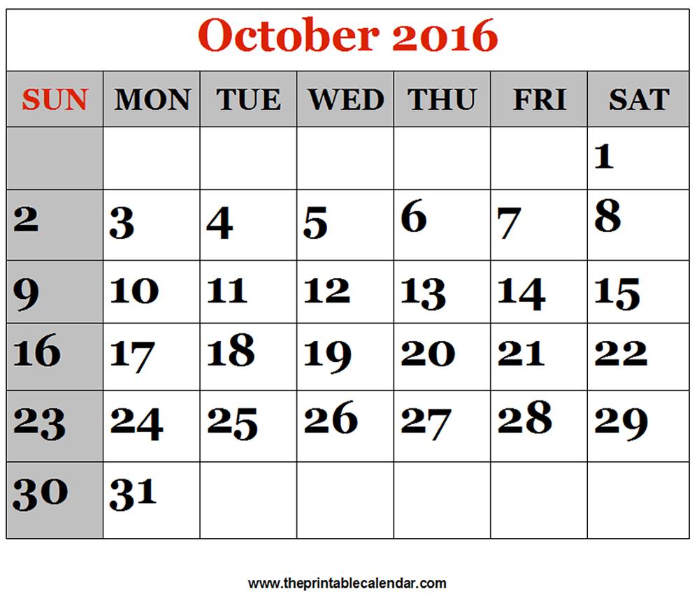 October 2016 Printable Calendars