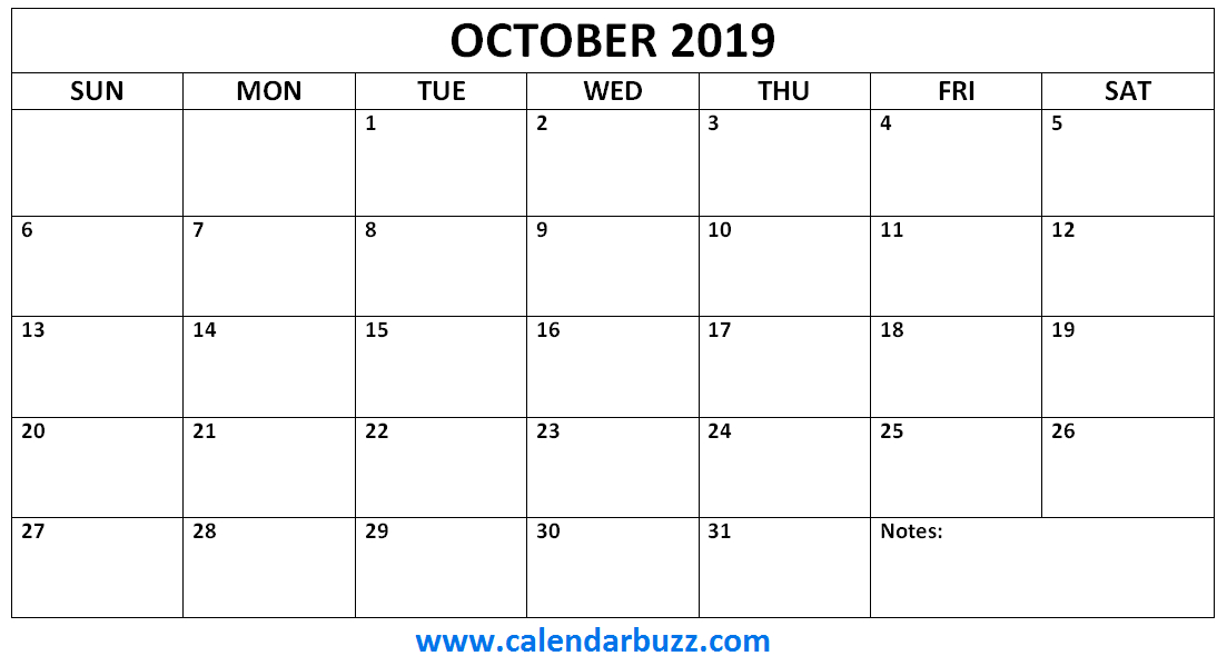 October 2019 Calendar Monthly Printable | Printable