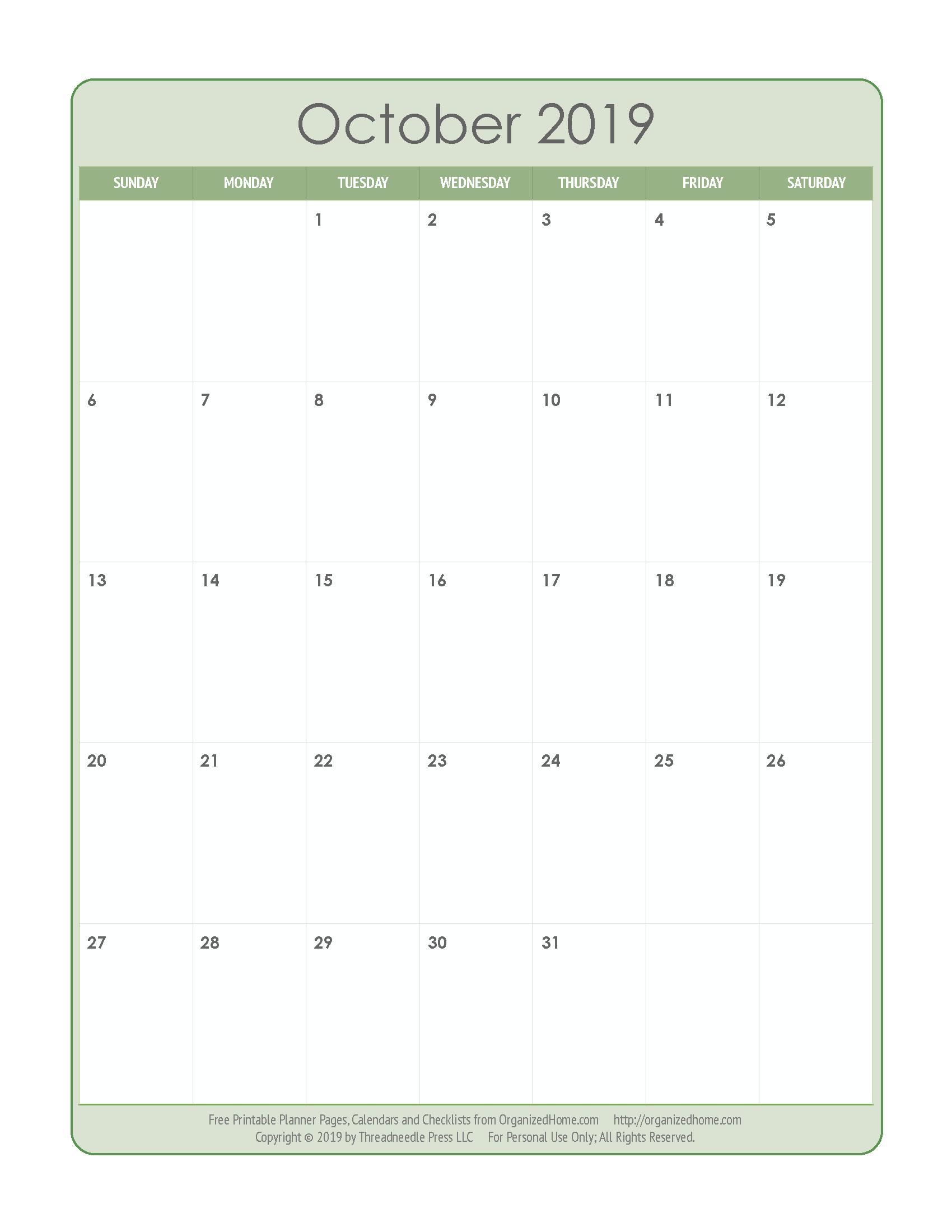 October 2019 Calendar | Organized Christmas