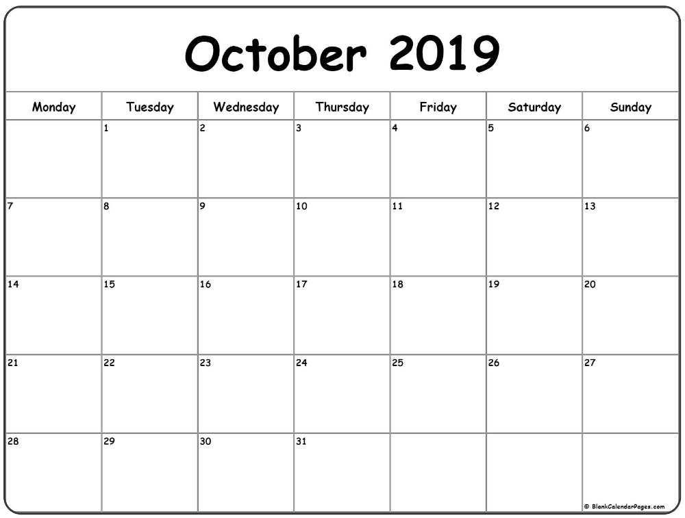 October 2019 Monday Calendar | Monday To Sunday | October
