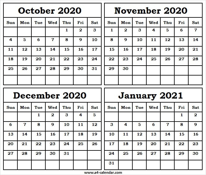 October 2020 To January 2021 Calendar A4 Template - Month