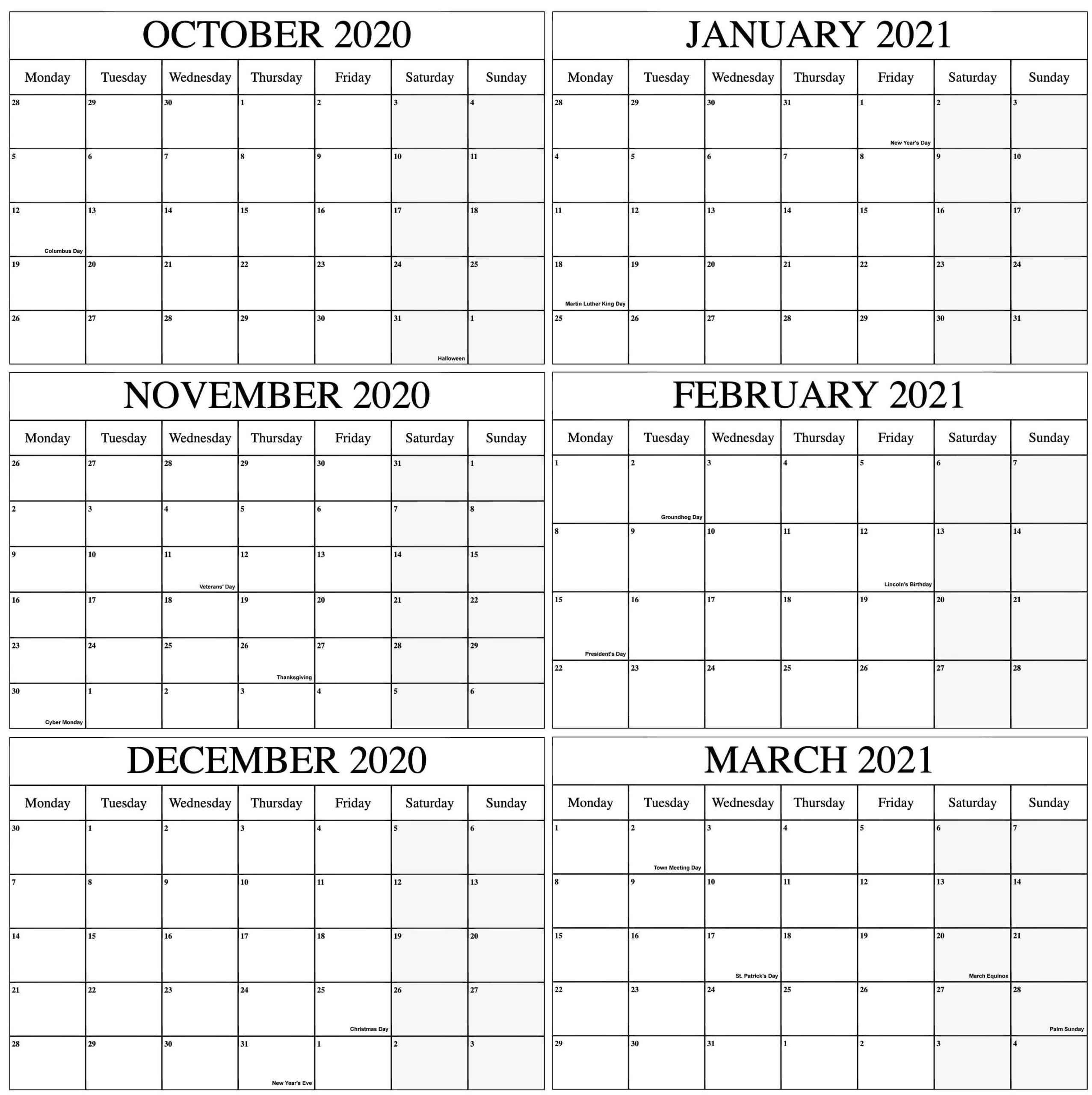 October 2020 To March 2021 Calendar Online | Free
