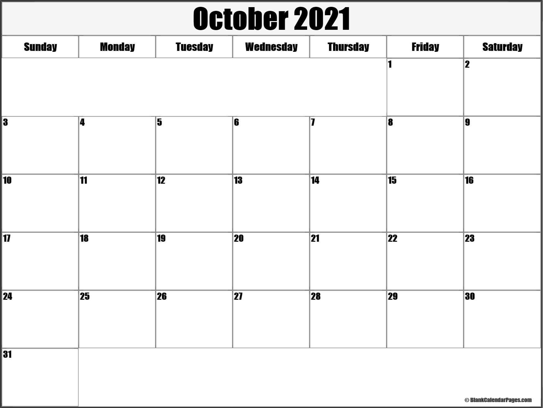 October 2021 Blank Calendar Templates.