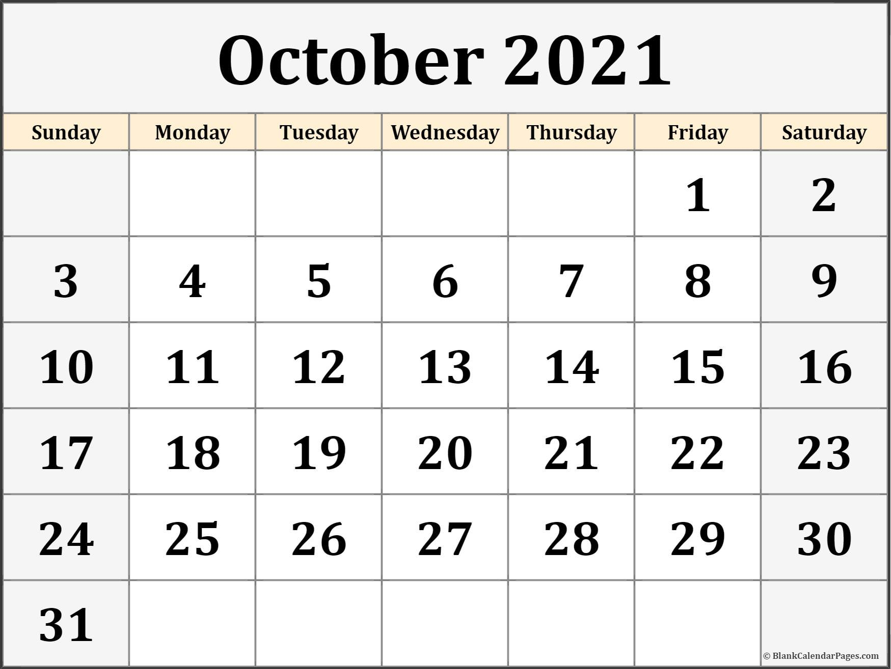 October 2021 Calendar | Free Printable Monthly Calendars