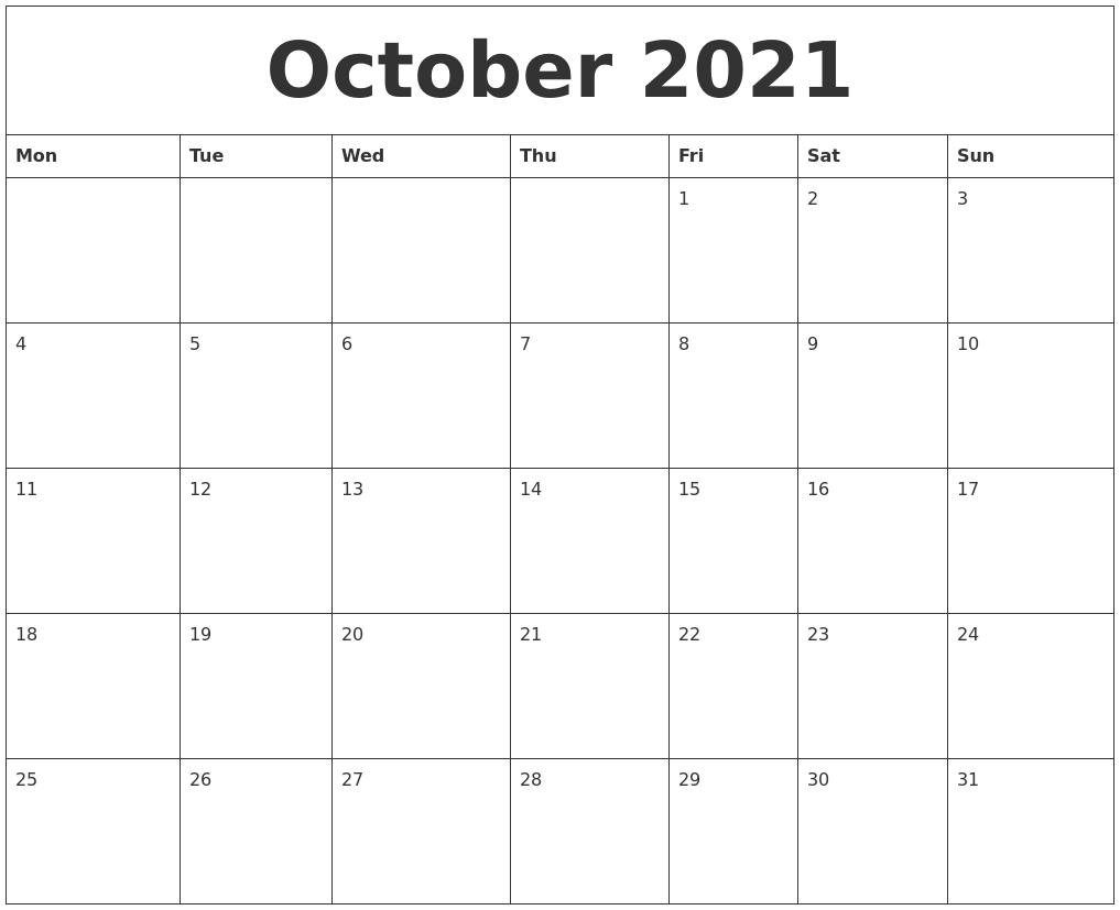 October 2021 Calendar Free Printable