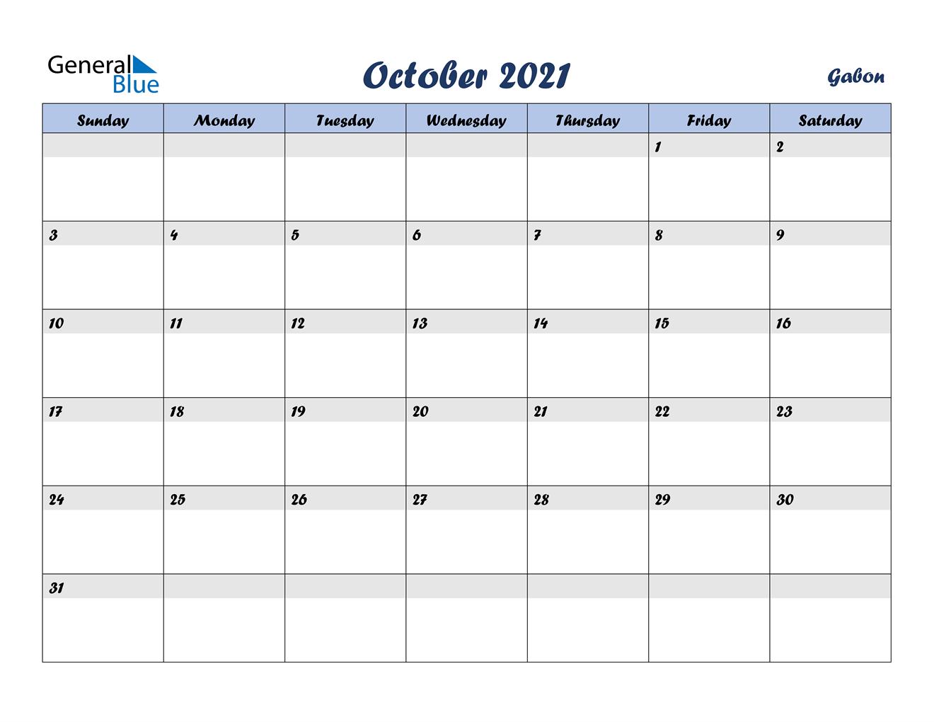 October 2021 Calendar - Gabon