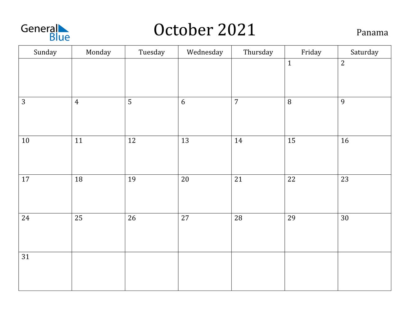 October 2021 Calendar - Panama