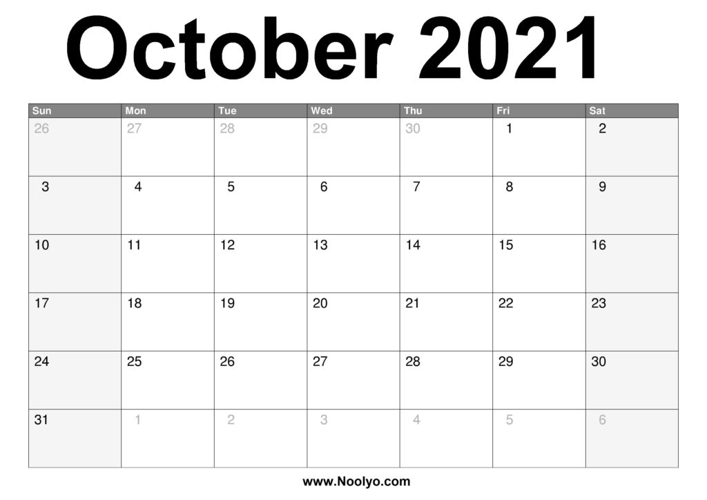 October 2021 Calendar Printable – Free Download – Noolyo