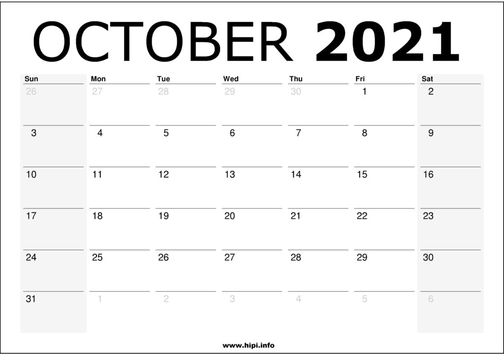Monthly Calendar Printable October 2021