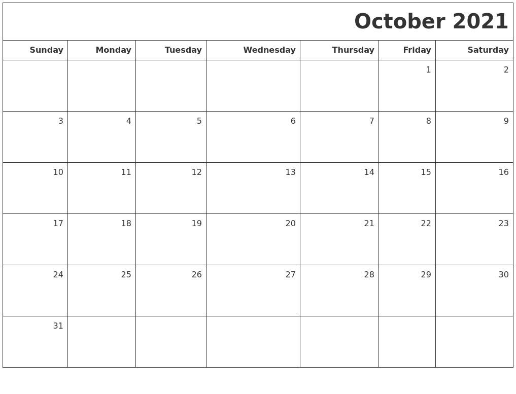 October 2021 Printable Blank Calendar