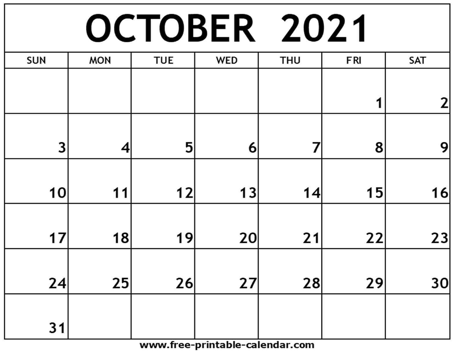 October 2021 Printable Calendar - Free-Printable-Calendar