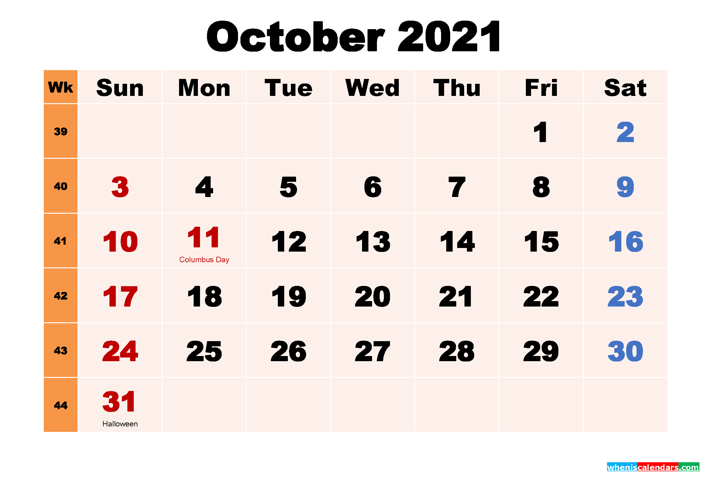 October 2021 Printable Calendar With Holidays Word, Pdf