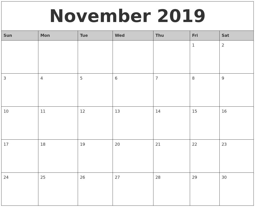 October Calendar 2019 Printable Free | Qualads