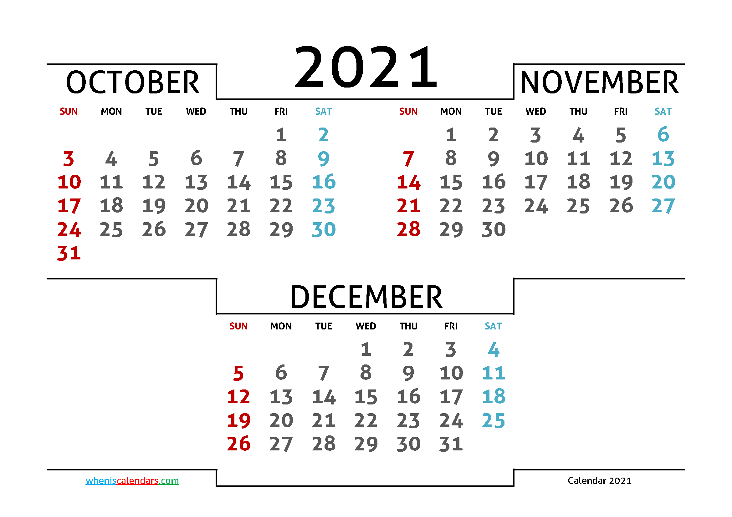 2021 Printable Calendar From October Thru December ...