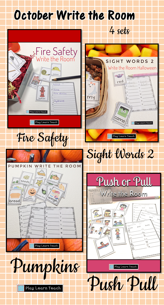 October Write The Room Bundle | Fire Safety, Vocabulary