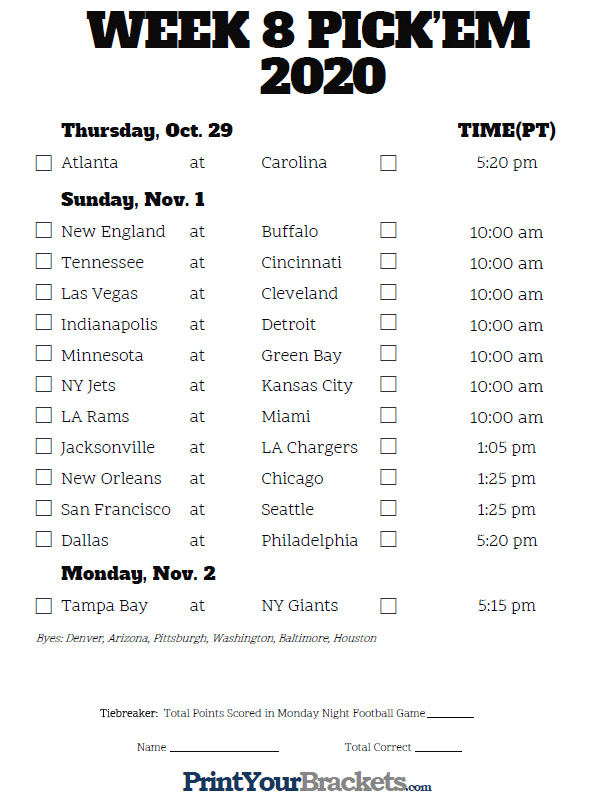 Pacific Time Week 8 Nfl Schedule 2019 - Printable