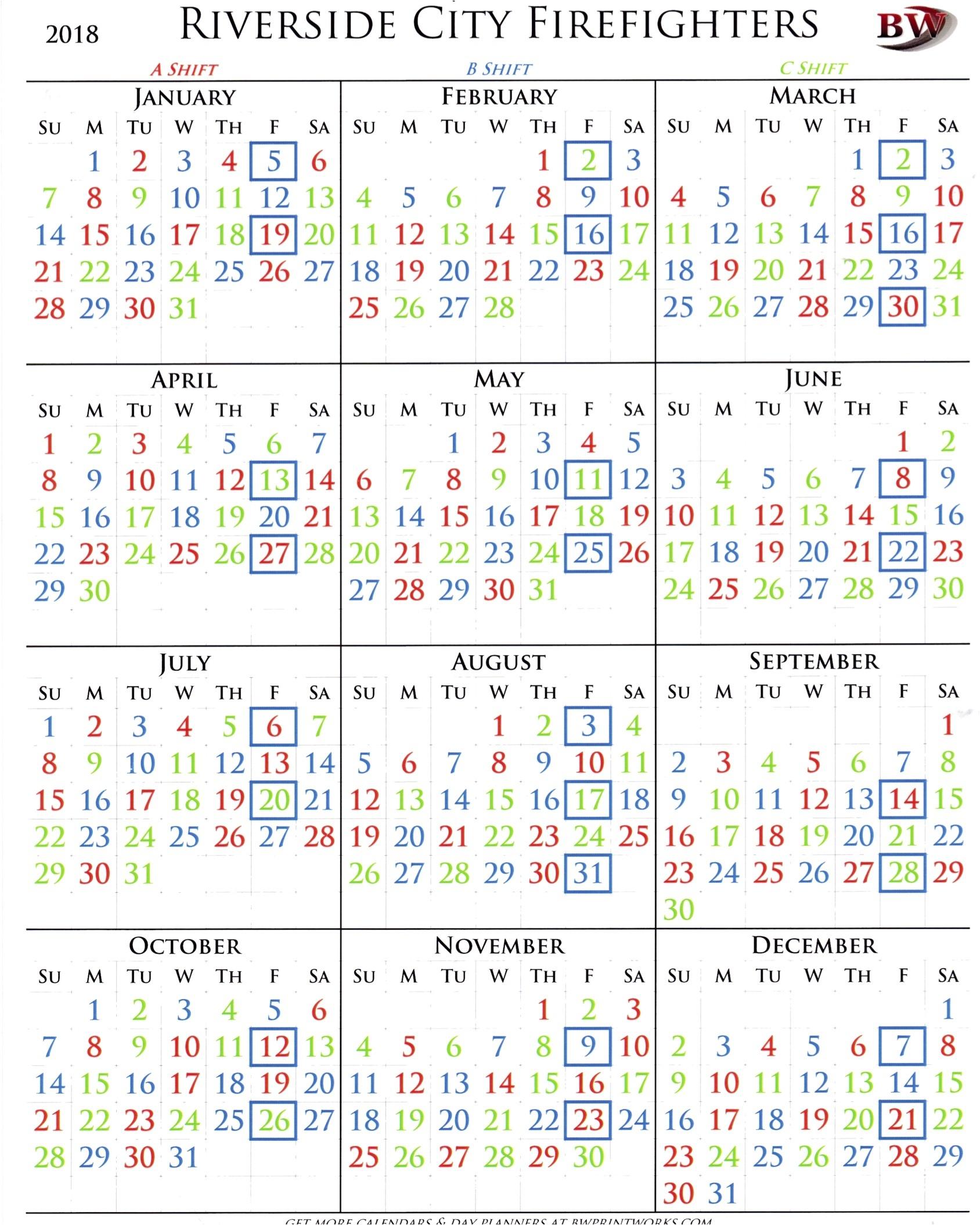 Phoenix Fire Shift Calendar 2020 – Template Calendar Design