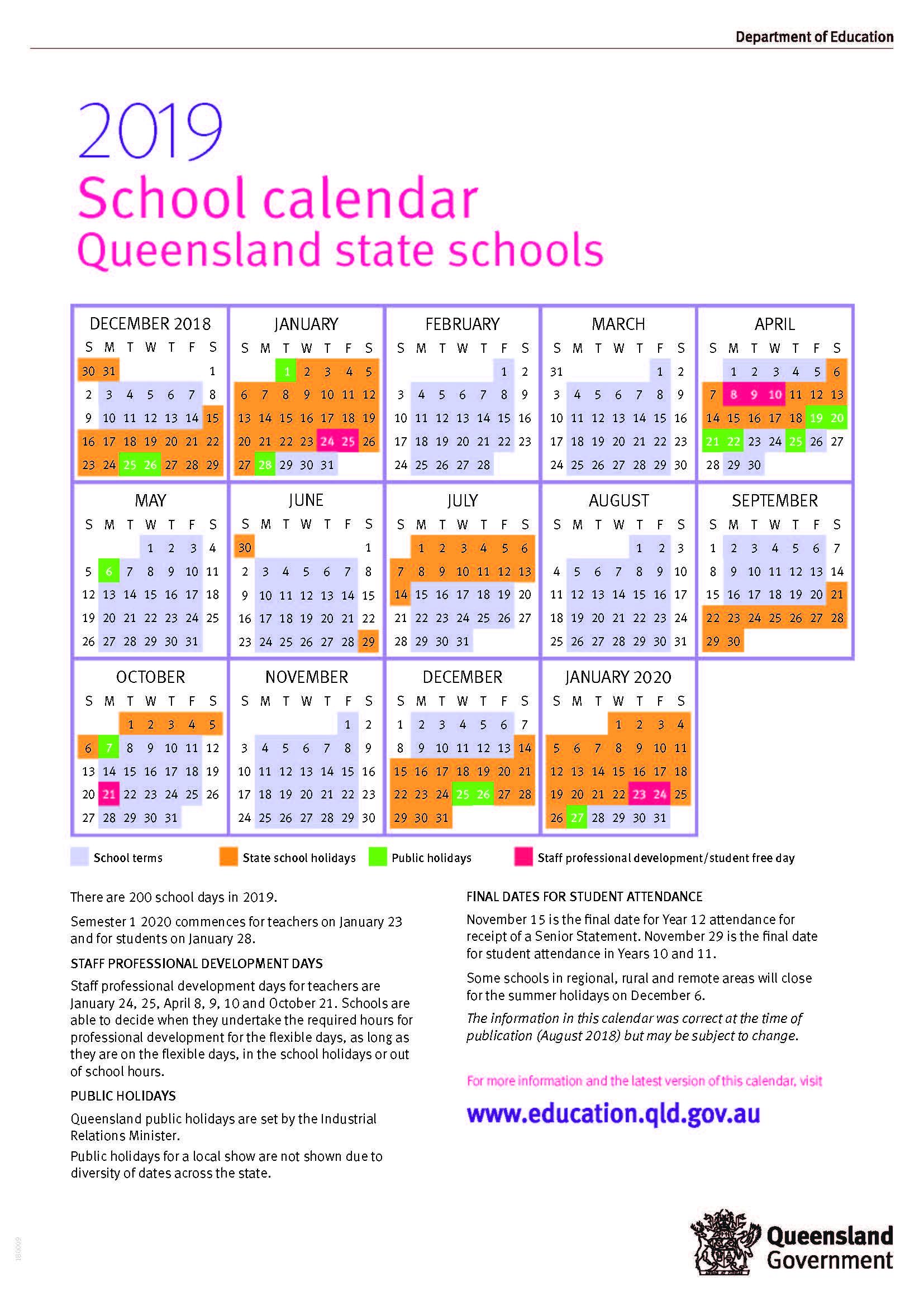 Pick 2020 School Calendar Queensland State Schools