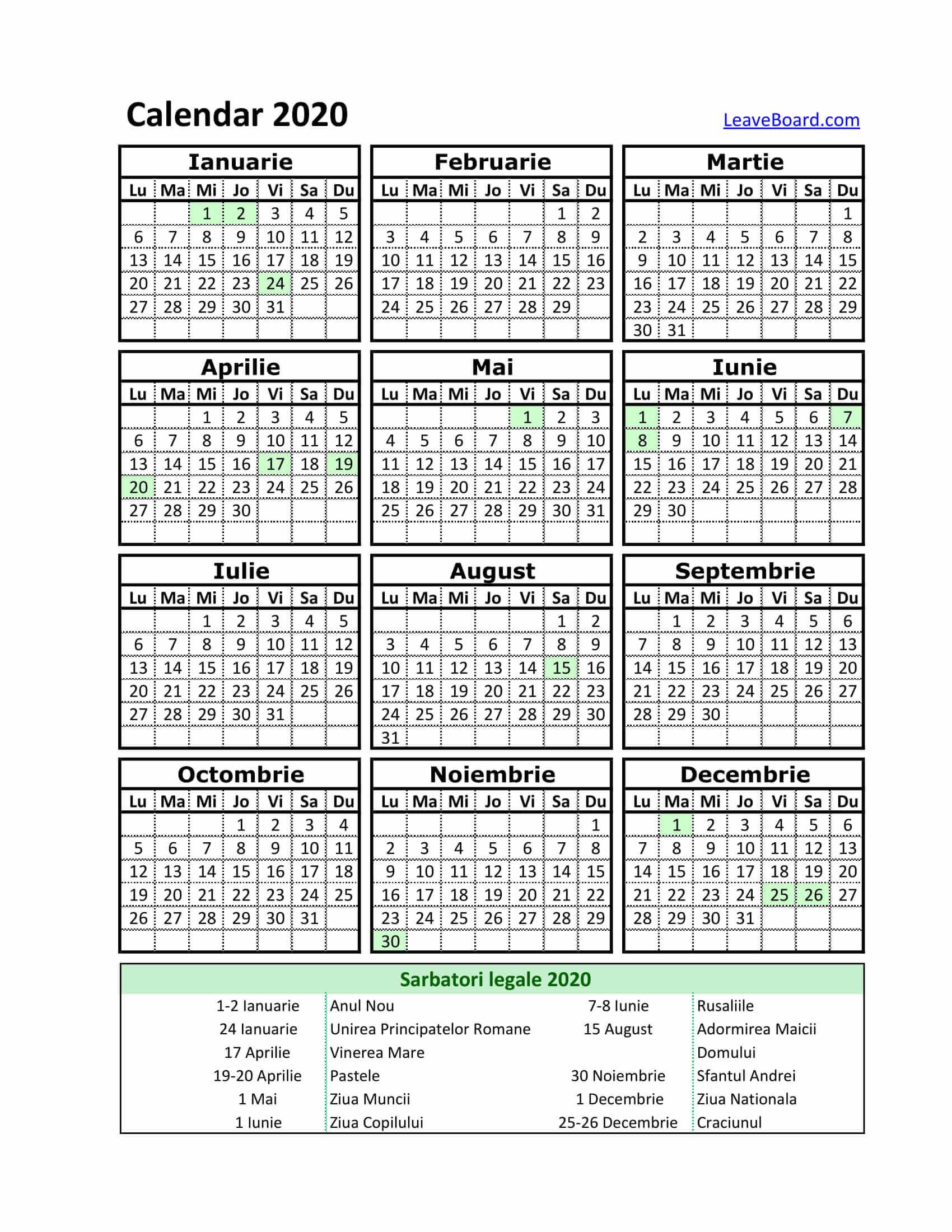 Pick Calendar Zile Lucratoare 2020   Calendar Printables