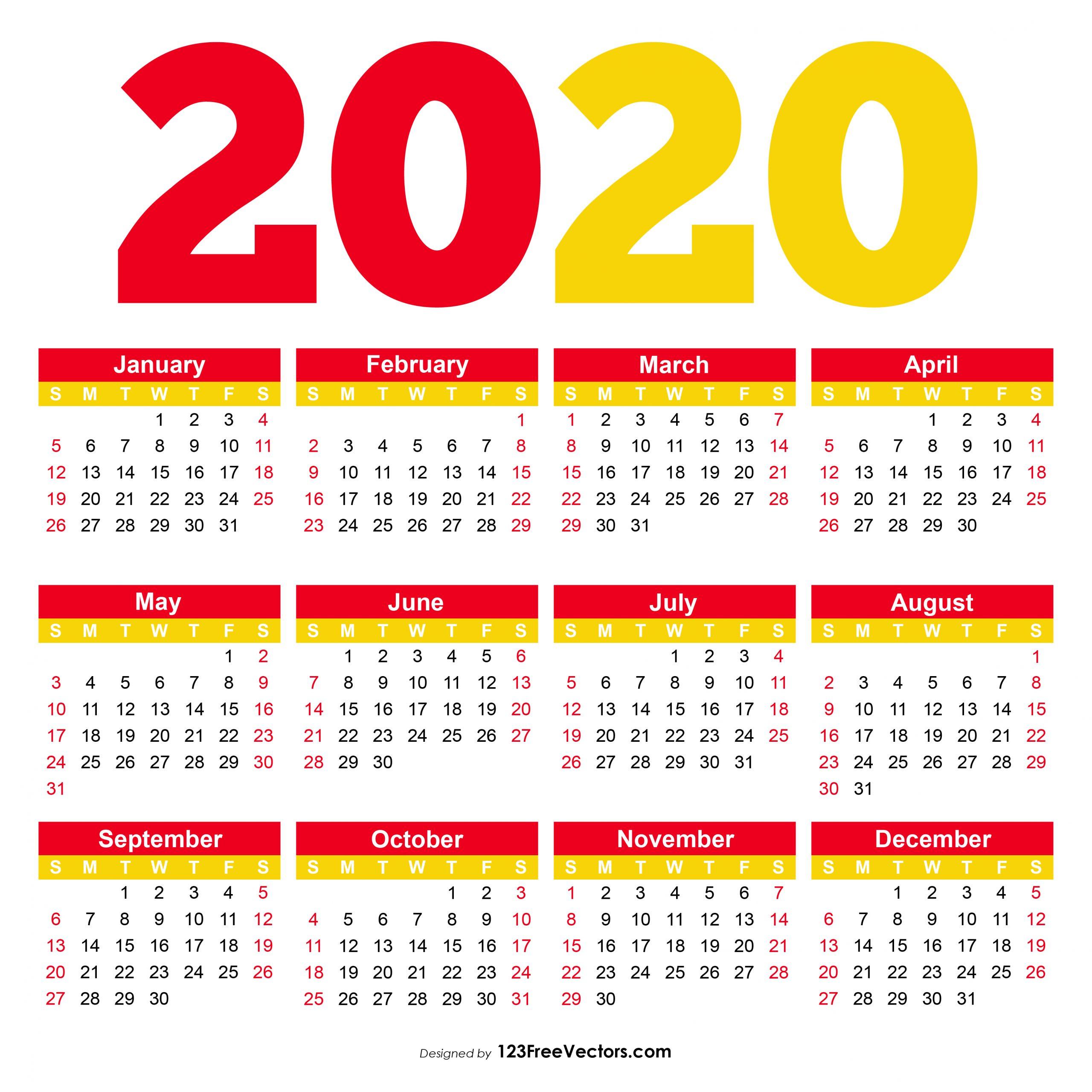 Pick Pocket Calendar 2020 Printable | Calendar Printables