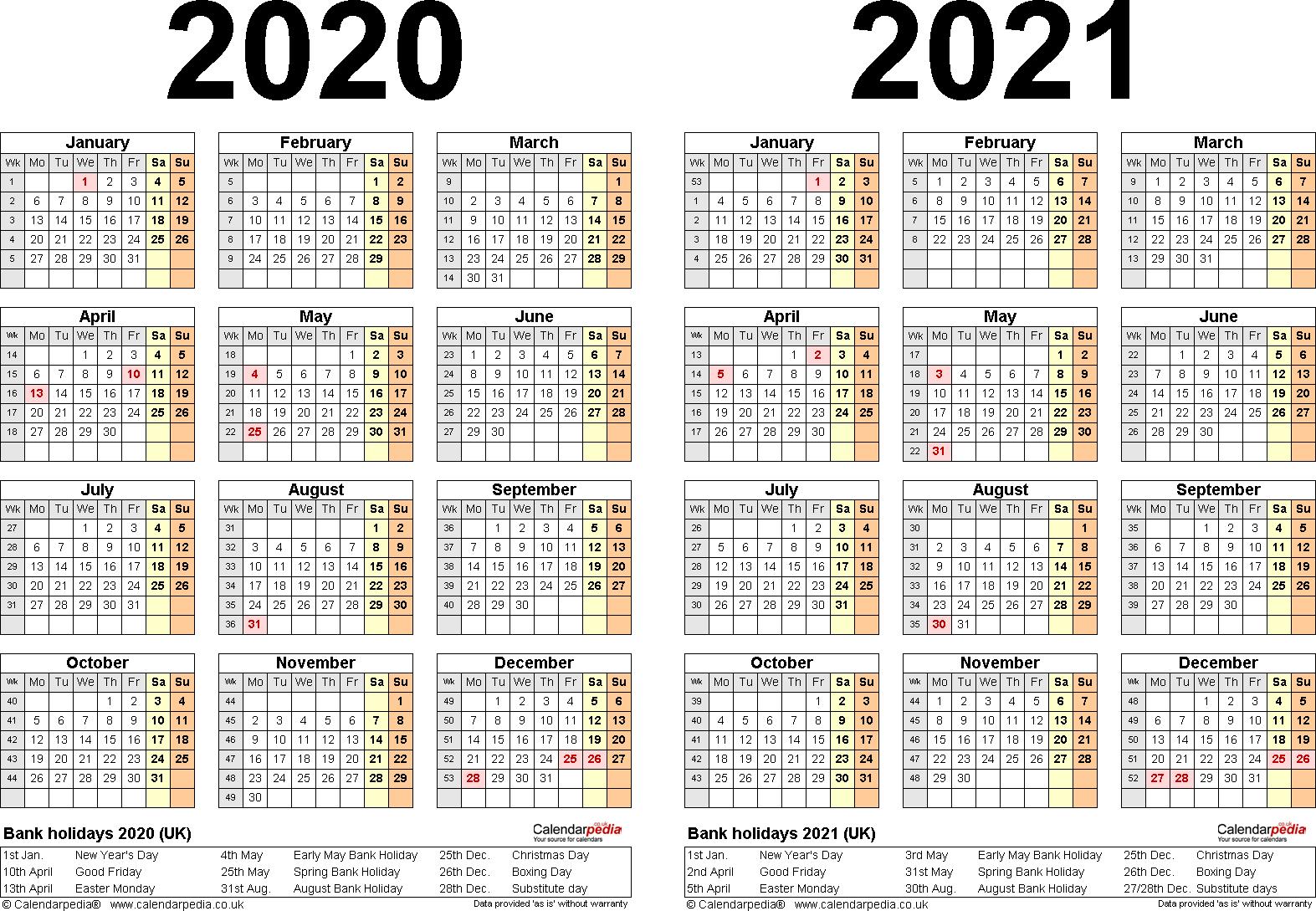 Pick Printable 2 Year Calendar 2020 2021 | Calendar