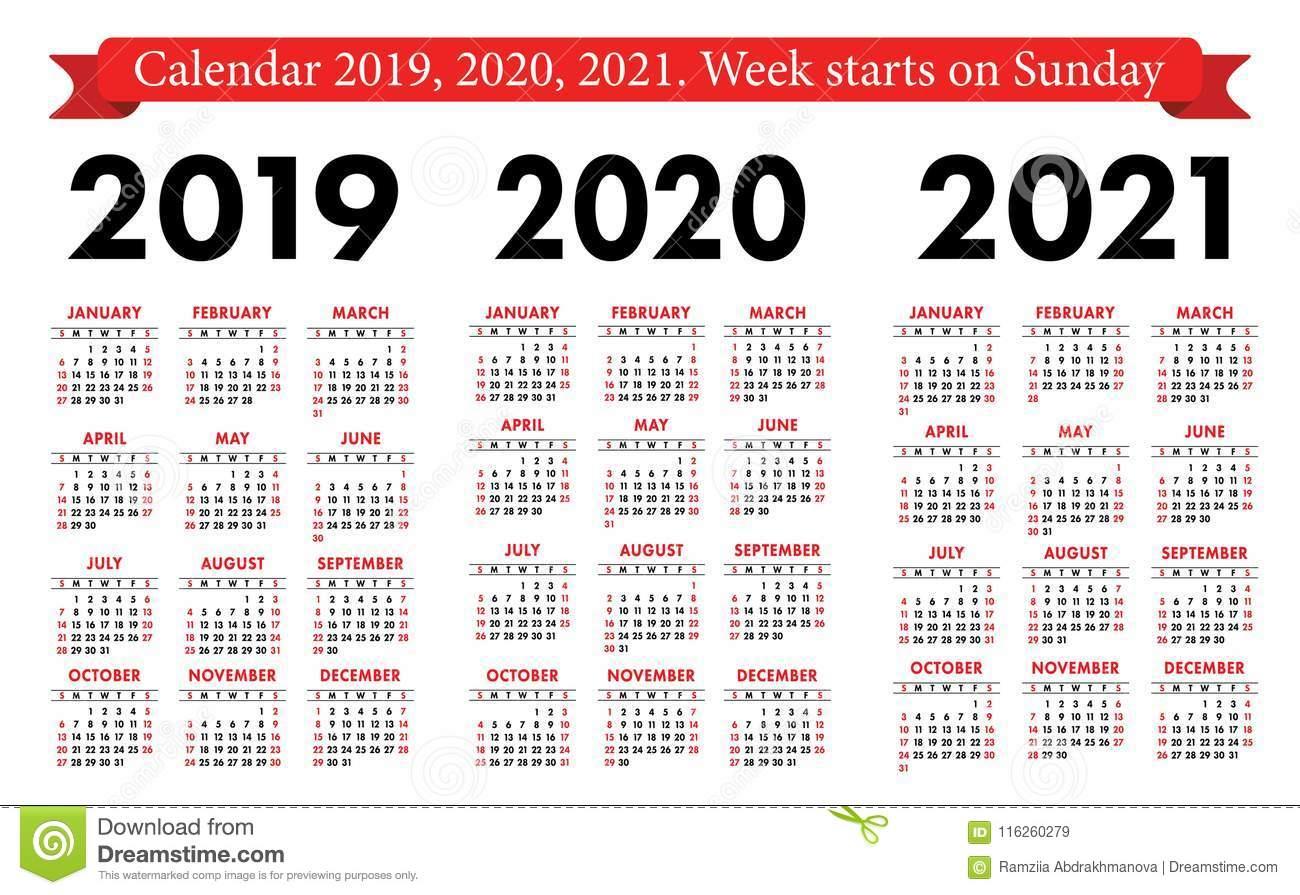 Pocket Calendar 2019, 2020, 2021 Set. Basic Simple