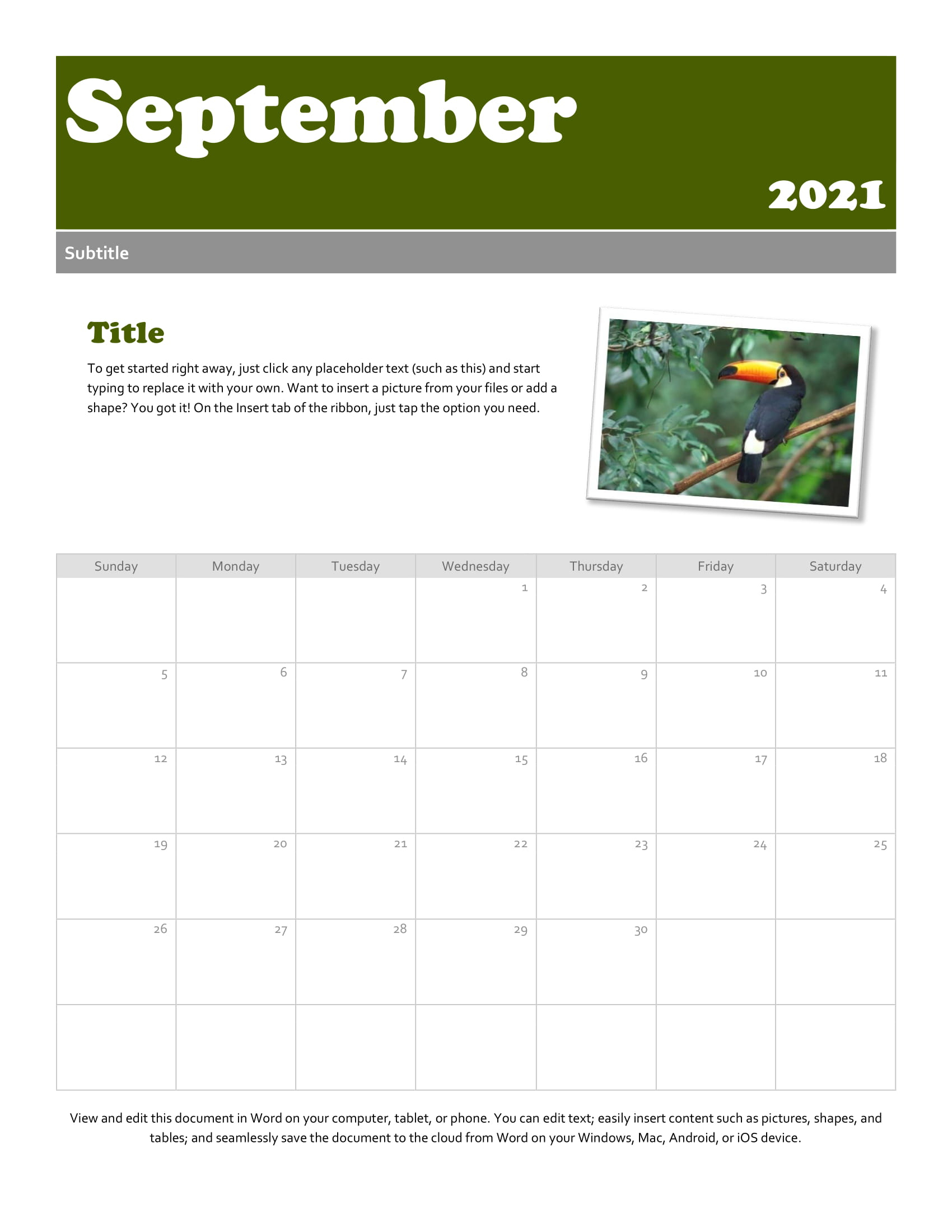 Print A Calendar For September 2021 - Printable Calendar