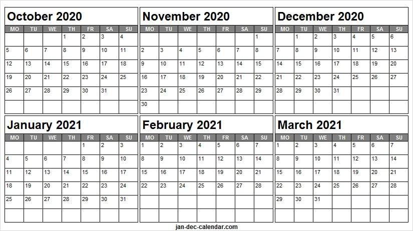 Print October 2020 To March 2021 Calendar - Blank Calendar