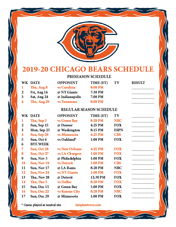 Printable 2019-2020 Chicago Bears Schedule