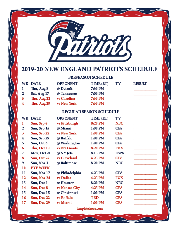 Printable 2019-2020 New England Patriots Schedule