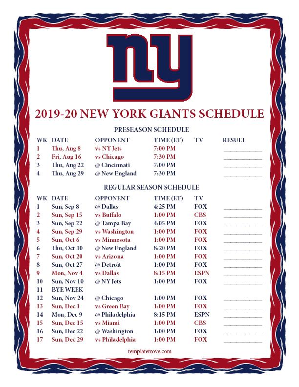 Printable 2019-2020 New York Giants Schedule