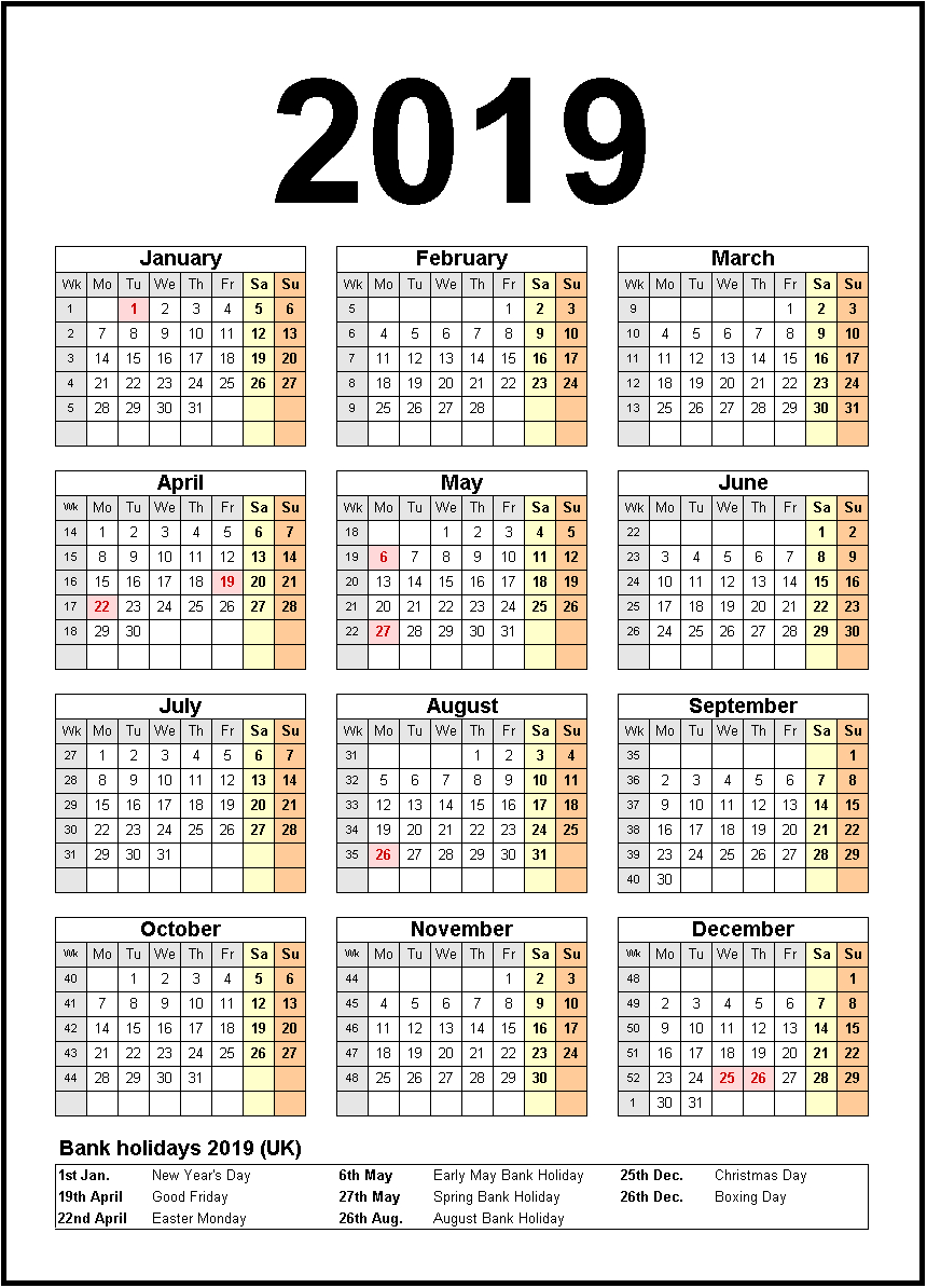 Printable 2019 Calendar With Holidays #2019Calendar