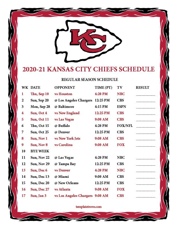 Printable 2020-2021 Kansas City Chiefs Schedule