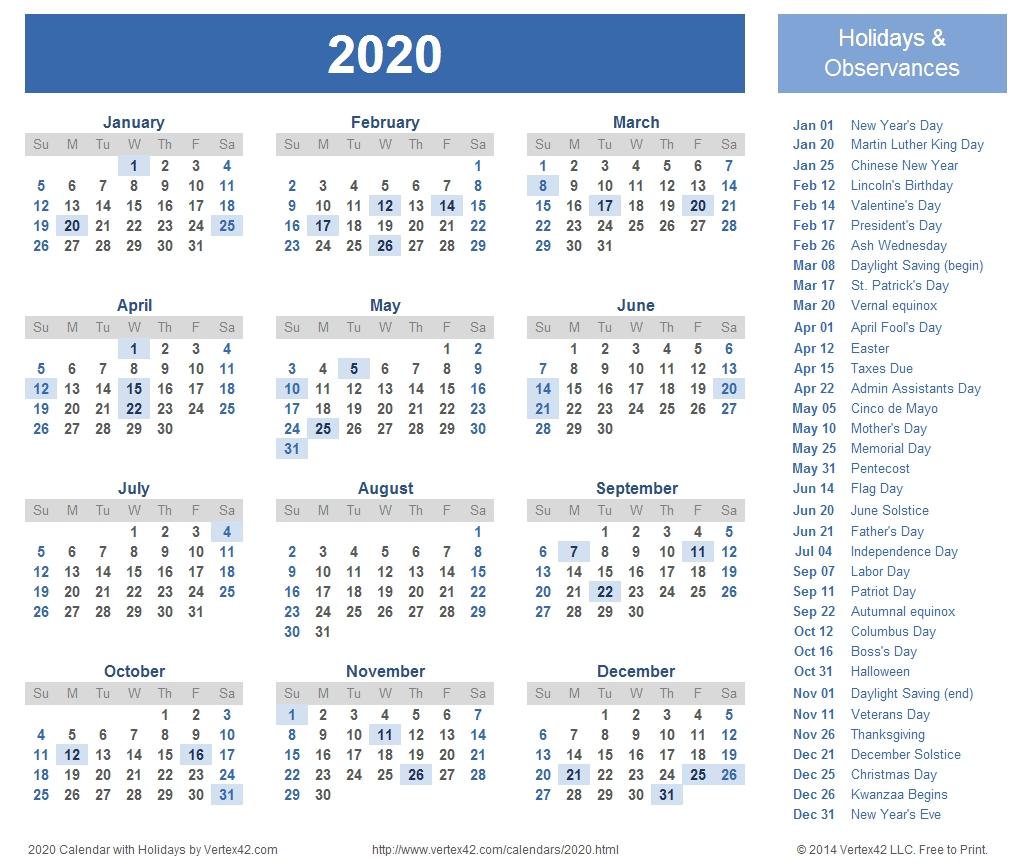 Printable 8.5 X 11 2020 Calendar - Calendar Inspiration Design