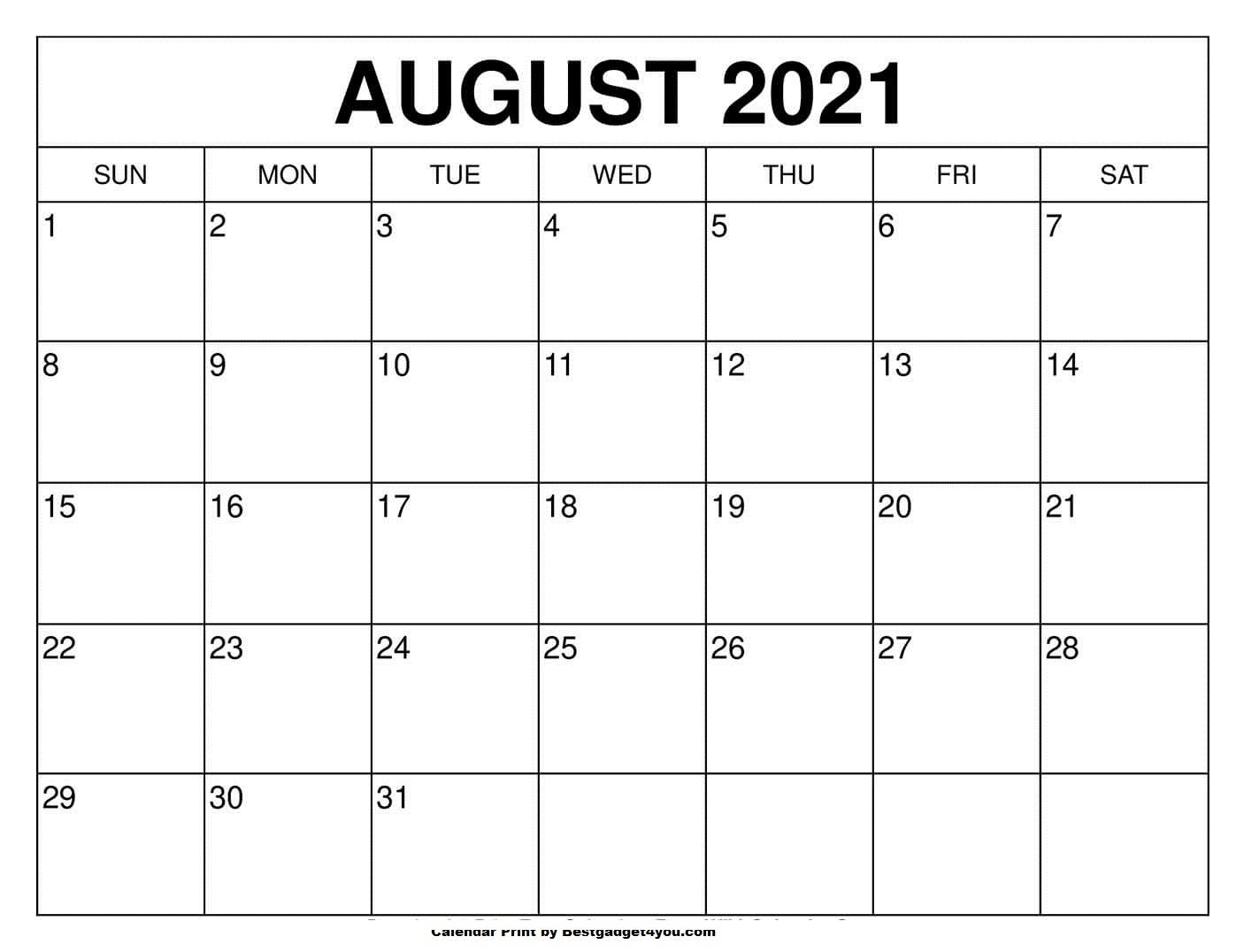 Printable August 2021 Calendar - Bestgadget4You